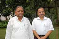With former Defense Minister & Chief Minister U.P. Mr Mulayam Singh Yadav inside his house very early morning