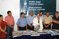 Thanks giving speech after my felicitation by the ILNA Chief Mr Paresh Nath and Diamond Books' Chairman Mr Narendra Varma next to me with other ILNA leaders in 2013